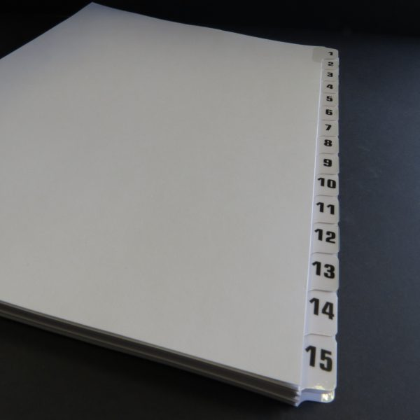 A4 Numbered Tab Dividers