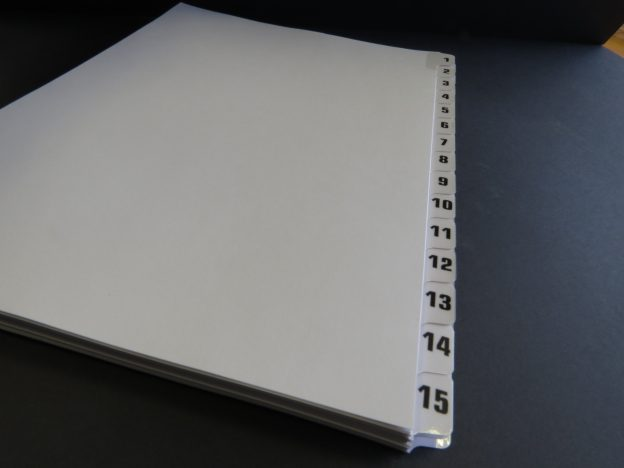 A4 Numbered Tab Dividers 1